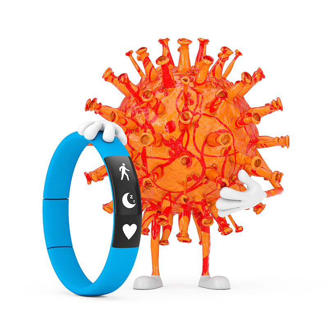 Cartoon-Coronavirus-Mascot-with-Blue-Fitness-Tracker