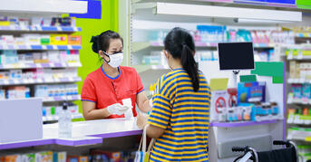 Pharmacy transaction with safety measures