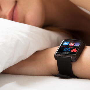 Smart Watch Showing Heartbeat Rate On Sleeping Womans Hand_1080x1080
