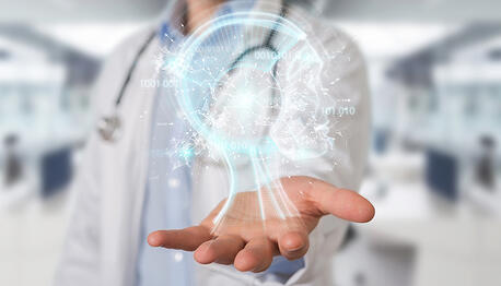 doctor-using-digital-AI-interface-3D-rendering